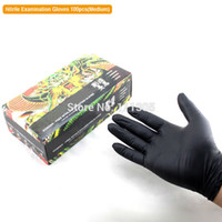 Wholesale 50pairs box Black Nitrile Latex Tattoo Gloves Medium Size Waterproof Power Free Disposable Use