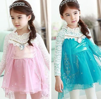 Wholesale 2014 Hot Sale Frozen Clothing Long Sleeve Lace Girl Princess Dress Blue And Pink The Actual Photo Children Dresses WD401