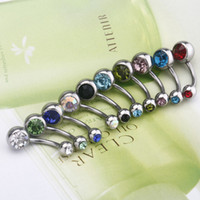 Wholesale Stainless Steel Ball Barbell Curved Navel Belly Button Rings Bars Piercing Body Fashion set H11559