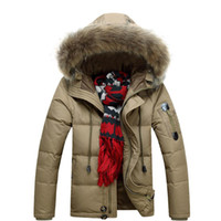 fur coat men - S5Q Men Military Warm Fur Collar Coat Winter Thick Duck Down Coat Hoodie Jackets AAADXR