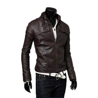 Wholesale S5Q Men PU Leather Strench Coat Slim Warm Winter Motorcycle Stand Collar Jackets AAADXE