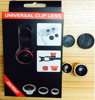 Wholesale Universal clip lens in Degree Fish Eye lens Wide Angle Macro kit Set for iphone s plug galaxy note note all mobile phone