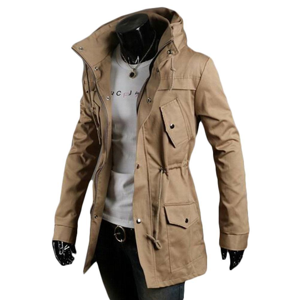 Best Quality S5q Men Vintage Military Coat Long Slim ...