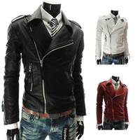 Wholesale S5Q Men s Short PU Leather Warm Winter Coats Slim Motorcycle Punk Trench Jackets AAADXJ