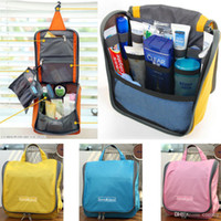Wholesale Travel Handbag Organizer Cube Storage Bag w Hanger Insert Organizer Tidy Travel Cosmetic Cleansing Kit Multi pockets Storage Package OB08