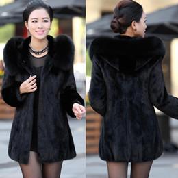 Wholesale 2014 Winter Women s Rabbit Fur Coat Fox Fur Collar Medium long Hooded Fur Coat Plus Size S XXXL XL Overcoat LSS057