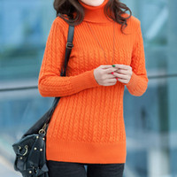 Wholesale New winter women long casual turtleneck sweater female thicken long sleeve knit pullover color