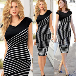 Wholesale Hot New Summer Stripes Clothing V Neck Short Sleeve Dress Lady Womens Party Dresses Prom Formal Cocktail Evening Dress Bodycon Sexy Dre