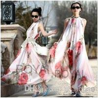 Cheap Summer Elegant BoHO Lotus Leaf Big Hem Chiffon Maxi Flowers Dress Long Dress A boho maxi dress long dress runway dresses