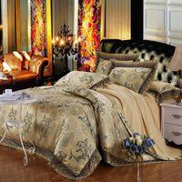 Wholesale Lake Blue Jacquard Tencel Modal Cotton Bedding Set Factory Direct Sale High Grade Wedding Gift Luxury Bed Suite King Queen size Bedding Bag