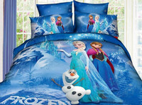 Wholesale 3D Bedding Sets Of Elsa Anna Printed Cotton Blue Red Twin Full Queen Size Children Cartoon Flat Sheet Fitted Cover
