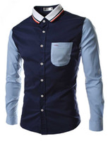 Wholesale Brand New Fashion Men s Patchwork Color Slim Fit Long Sleeve Casual Shirts Mens Dress Shirts