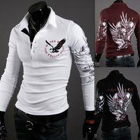 top brand t-shirts - Brand Man Tops Men s Long Sleeve T Shirts Men Tshirt Pullovers New Brand Casual T shirt Eagle Printing Mens Shirt R1571