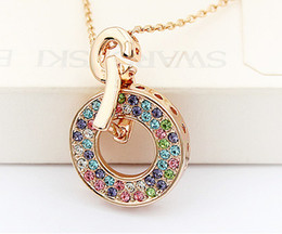 Fashion Jewelry Swarovski Elements Crystal Necklace Pendant For Women Rose Gold Plated Charm Brand Jewelry Female Birthday Gift 2881