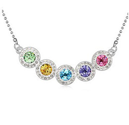 Wholesale Fashion Colorful Crystal Pendants Necklace For Women Brand Jewelry Beautiful Rainbow Necklace Gold Plated made with Swarovski Elements