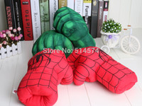 Wholesale New Arrival Hotsale Incredible Hulk Smash Hands or Spider Man Plush Gloves Performing Props Toys Set of Free