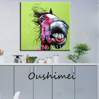 horse decor - Hand Painted Abstract Animal Paintings For Room Decor Funny Smile Funny Horse Oil Painting On Canvas Hang Pictures On The Wall Craft