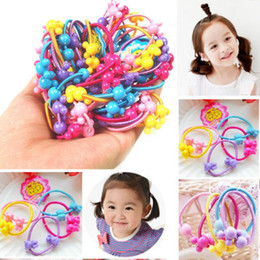 New Wholesale 100pcs/lot children Baby Girl Kids Tiny floral Hair Accessories Hair Bands Elastic Ties Ponytail Holder headwear