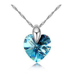 Blue Big Crystal Heart Pendants Wedding Necklaces for Women made with Swarovski Elements 18K White Gold Plated Necklace Short Chain 11533