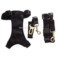 Wholesale Dog Nylon Harness Leash Adjustable Car Vehicle Auto Seat Safety Belt Seatbelt Combo Set with Quick Release Buckles Black