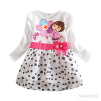 Wholesale Christmas Vestidos Infantis Girl Dress Dora Princess New Arrival Cartoon Polka Dots Girls Fashion Dresses Party Baby Kids H5070