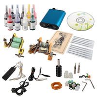 Cheap Tattoo Kit 2 Machine Guns 10 Color Ink Set Needle Grip Tip Power Supply UK