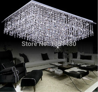 Cheap 2014 new square K9 crystal bead ceiling chandelier modern home lighting L800*W600*h350cm free shipping