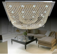 Cheap Free shipping Modern square Crystal Chandelier ceiling lighting fixtures living room lamp luxury crystal bead L600*W600*h220mm