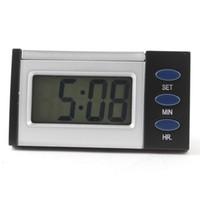 Wholesale Silver Tone Black Shell Button Car Dashboard LCD Display Digital Clock