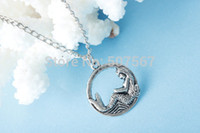Wholesale Mermaid Necklace Antique silver charm pendant fantasy jewelry holidays gift everyday