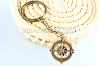 zipper pull - big Sell Compass key chain Ocean Keyring bronze keychain compass zipper pull nautical personalized key chain backpack charm