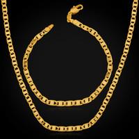 Colliers hommes France-18K réel collier en or plaqué Choker Chaînes Collier plaqué or de haute qualité pour les hommes 18K Stamp 4MM Usine de gros MGC NH1040