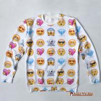 Wholesale-Hot moda camisola Emoji para mulheres / homens de rede moletom expressão de impressão hoodies 3d encantador engraçado bonito dos desenhos animados roupas tamanho 4