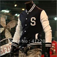 Wholesale Men s Trendy New Varsity Letterman Hoodie Baseball Jacket Slim designed Coat Size M L XL Navy Wine red
