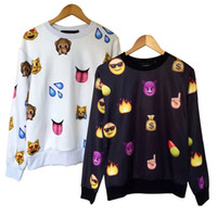 Atacado-novos homens de moda / camisola das mulheres camisetas Harajuku pullover impressa desenhos animados emoji camisolas casual outono hoodies branco / preto