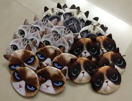 Wholesale D print Pug Dog Angry Cat Coin Purse handbag women coin holders wallet bag purse coins clutch storage purses wallets cases