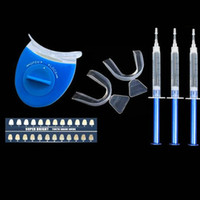 Cheap Wholesale-Advanced Home Use Teeth Tooth Whitener Whitening Bleaching Dental Gel Syringe Kits + LED LASER Light