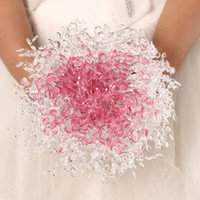 Wholesale 2014 cm Acrylic crystal handmade bridal wedding casamento brooch bouquet Hot pink version bouquet