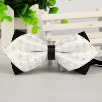 Wholesale 12cm cm men white bow tie fashion self tie bow ties casual butterfly bowties no minimum order