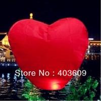 Cheap Wholesale-2psc Red Heart Sky Lanterns Chinese Wishing Lantern Classic Toys Balloon Shape Free Shipping Wholesale