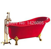 Wholesale freestanding bathtub red color shower room set bathroom set