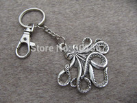 Wholesale big Hot Sell silver octopus key chain Kraken cthulhu keychain Fashion Jewelry antique jewelry