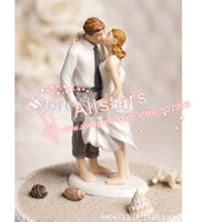 beach wedding cake decorations - Beach Kissing Resin Couple Figures Funny wedding Cake Toppers for wedding decoration supplies F