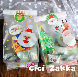 Free shipping Christmas dull polish Santa Claus flat bag cookie candy gift packing bags party supply kids favors decoration