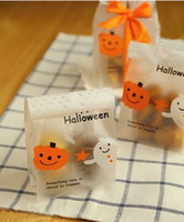 Wholesale Halloween dull polish long pumpkin star ghost decoration flat bag dessert cookie candy bags biscuit sweets package