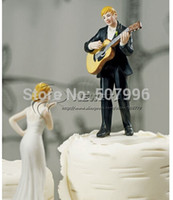 airline guitar - brand new Guitar holding groom and bride figures funny wedding cake toppers wedding supplies CAKE DECORATION F