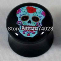 Wholesale arylic mix size mix color mix style many different logo double flare ear plug tunnel body jewelry mix order