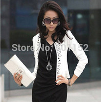 Cheap 2014 christmas blazer women blusa de renda women coat crop top clothing trench blazer feminino black white one-piece