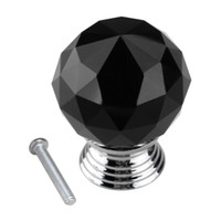 Cheap Black Round Crystal Glass Cabinet Drawer Door Pull Knobs Handles 30mm