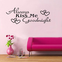 Wholesale ALWAYS KISS ME GOODNIGHT Quote Black Words Room Art Mural Wall Sticker Decal